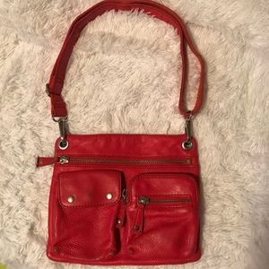Fossil Red Leather Crossbody Purse